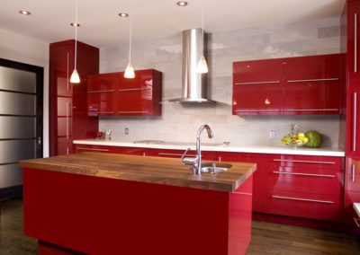 Red modern kitchen with island